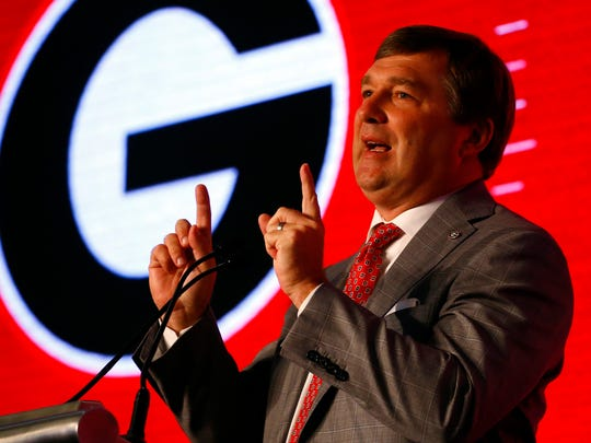 Georgia head coach Kirby Smart speaks during the NCAA college football Southeastern Conference Media Days, Tuesday, July 16, 2019, in Hoover, Ala. (AP Photo/Butch Dill)