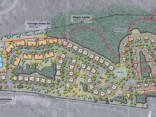 Proposed housing sites are shown in this plan for development of the western part of Kwiniaska Golf Club in Shelburne. Red lines indicate an earlier footprint for the project. Spear Street appears at the bottom of the plan.