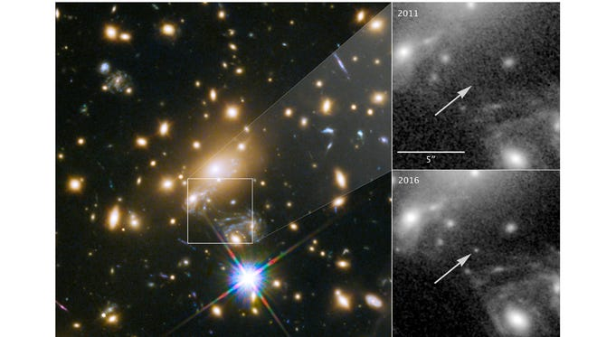 A massive cluster (left) magnified a distant star more than 2,000 times, making it visible from Earth (lower right) even though it is 9 billion light years away, far too distant to be seen individually with current telescopes. It was not visible in 2011 (upper right).