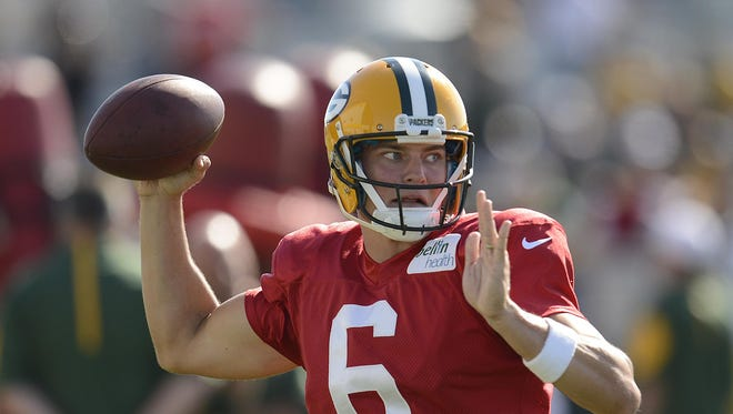 Green Bay Packers quarterback Matt Blanchard makes a throw while running drills during training camp practice at Ray Nitschke Field on Thursday, Aug. 6, 2015.