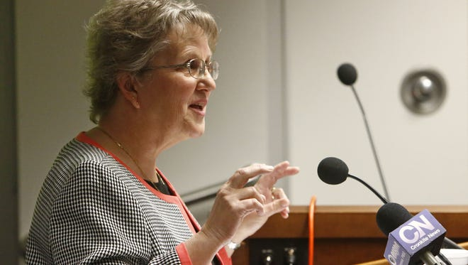 """State schools superintendent Diane Douglas gives her annual """"state of education"""" address."""