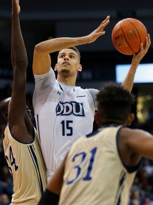 Trey Porter, shown while playing for Old Dominion, can jump high.