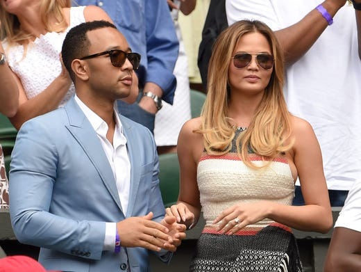 John and Chrissy attend Day 7 at Wimbledon in July