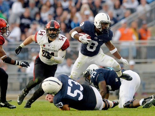 Penn State Nittany Lions running back Mark Allen steps over guard Derek Dowrey on a drive in the second half of an NCAA Division I football game Saturday, Sept. 26, 2015, at Beaver Stadium. Penn State defeated San Diego State 37-21. Chris Dunn Ñ Daily Record/Sunday News