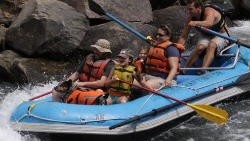 The Myers Family, from Peoria, white water rafting in Durango, Colo.