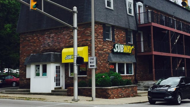 """The Subway restaurant in Bloomington, which Jared Fogle frequented as an overweight undergraduate student at Indiana University. Fogle credited his """"Subway diet"""" for massive weight loss -- nearly 250 pounds."""