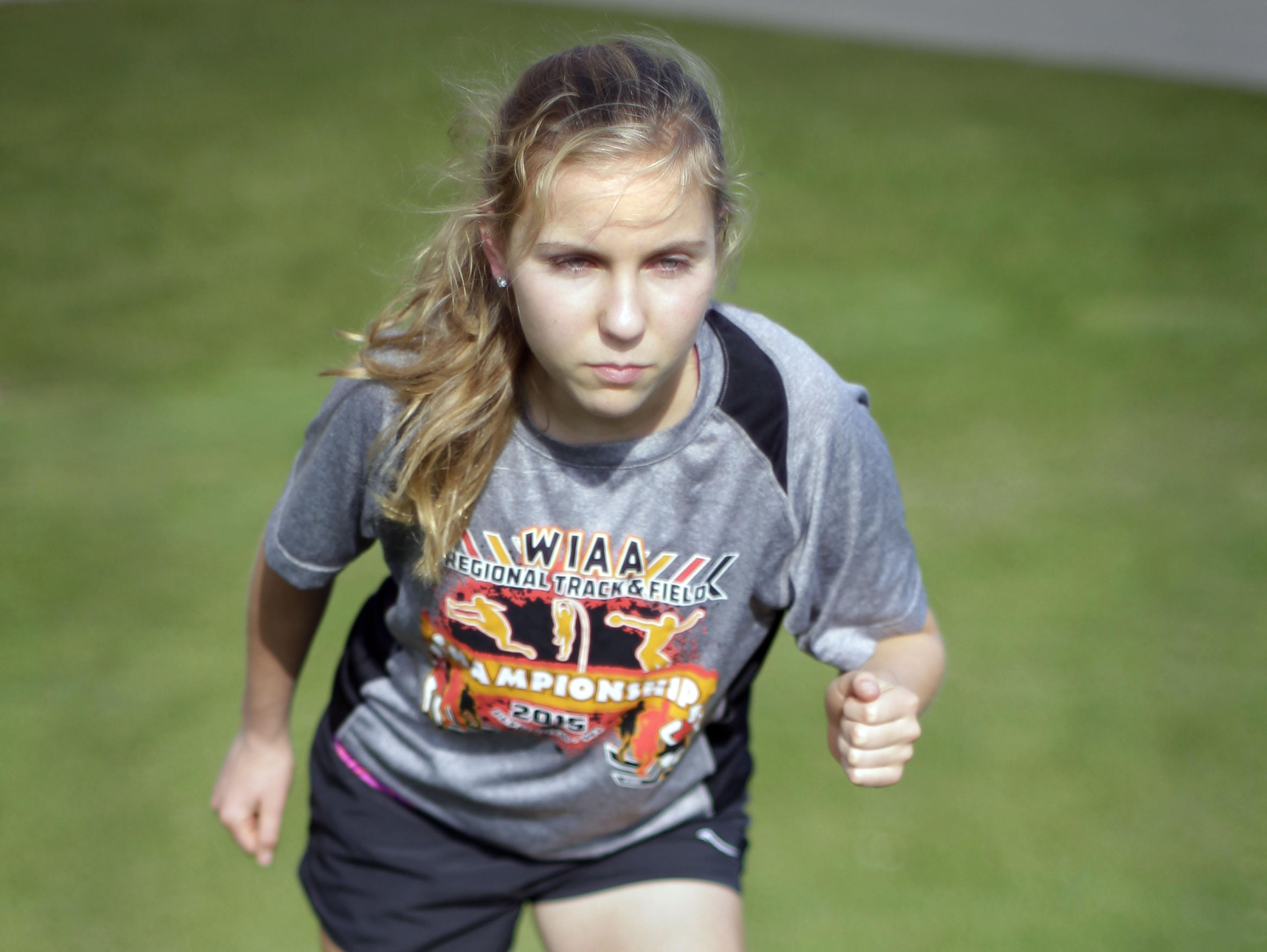 Plymouth's Sophie Bolich is determined and ready to best her times at cross country meets. Bolich poses Wednesday September 23, 2015 at the school.