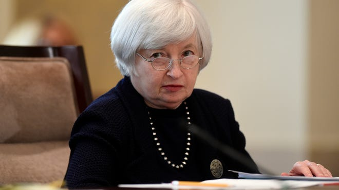 Federal Reserve Chair Janet Yellen attends a Board of Governors meeting at the Federal Reserve in Washington this month. The meeting agenda was final rules for bank regulations in the wake of the financial crisis.