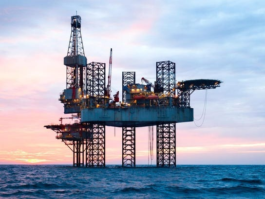Offshore Jack Up Rig in The Middle of The Sea