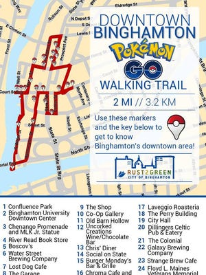 The map was created by Binghamton Economic Development as a way to highlight downtown attractions.