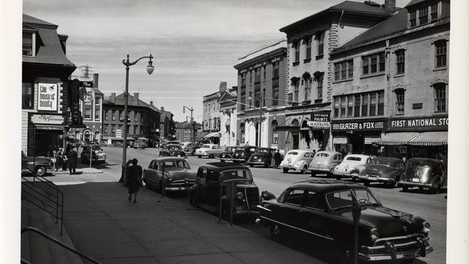 This 1950s photograph of Pleasant Street looking toward Market Square in Portsmouth is the work of commercial photographer Douglas Armsden, whose collection of 25,000-plus images is being processed by the Portsmouth Athenaeum.