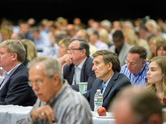 Hundreds of attorneys listen as Delaware Supreme Court Chief Justice Leo E. Strine Jr. speaks to members of the Delaware State Bar Association at the Chase Center on the Riverfront in Wilmington on Friday morning.