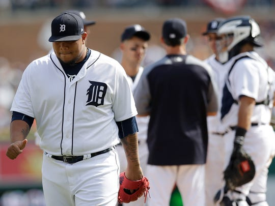 Tigers relief pitcher Bruce Rondon is pulled during