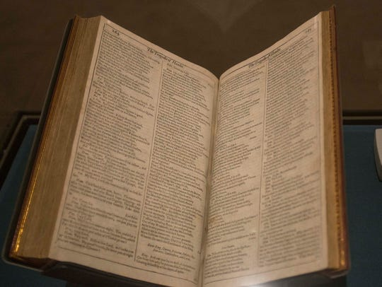 The First Folio on display at the Montgomery Museum