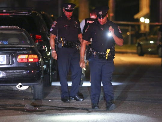 Wilmington police investigate a shooting on the 2400 block of N. Claymont Street in Wilmington in May 2017.