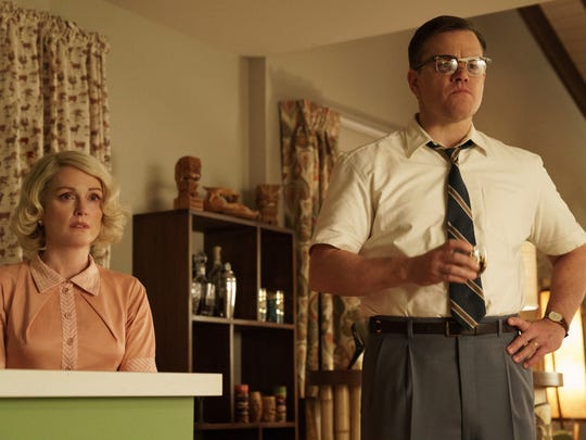 """Julianne Moore and Matt Damon try to keep their suburban home intact after a crime tears their world apart in """"Suburbicon."""" It opens Oct. 27."""