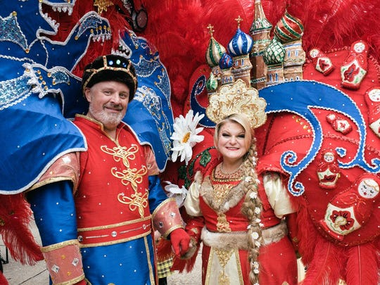 Krewe of Gemini royalty pose for a photo before the krewe's 30th annual parade in 2019.