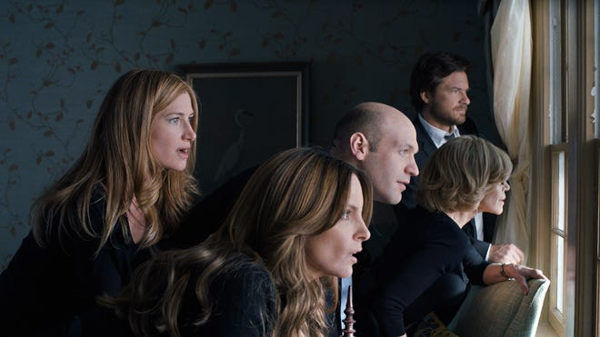"""This photo released by Warner Bros. Pictures shows, from left, Kathryn Hahn as Annie Altman, Tina Fey as Wendy Altman, Corey Stoll as Paul Altman, Jane Fonda as Hillary Altman, and Jason Bateman as Judd Altman, in  """"This Is Where I Leave You."""""""