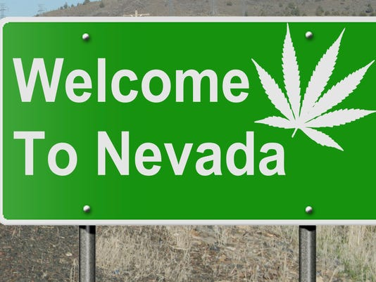 Welcome to Nevada with marjiuana leaf