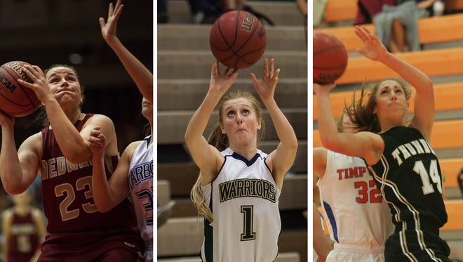 Cedar's Courtney Morley (left), Snow Canyon's Nikenna Durante (middle) and Desert Hills' Kenzie Done are among players mentioned in the first week of the Southern Utah girls' basketball blog.