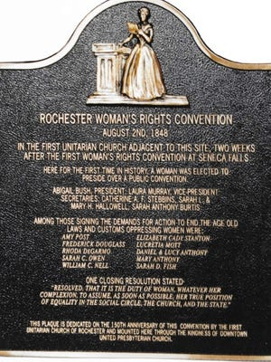 A plaque that honors the Rochester Woman's Rights Convention of 1848. It is at the Downtown United Presbyterian Church.