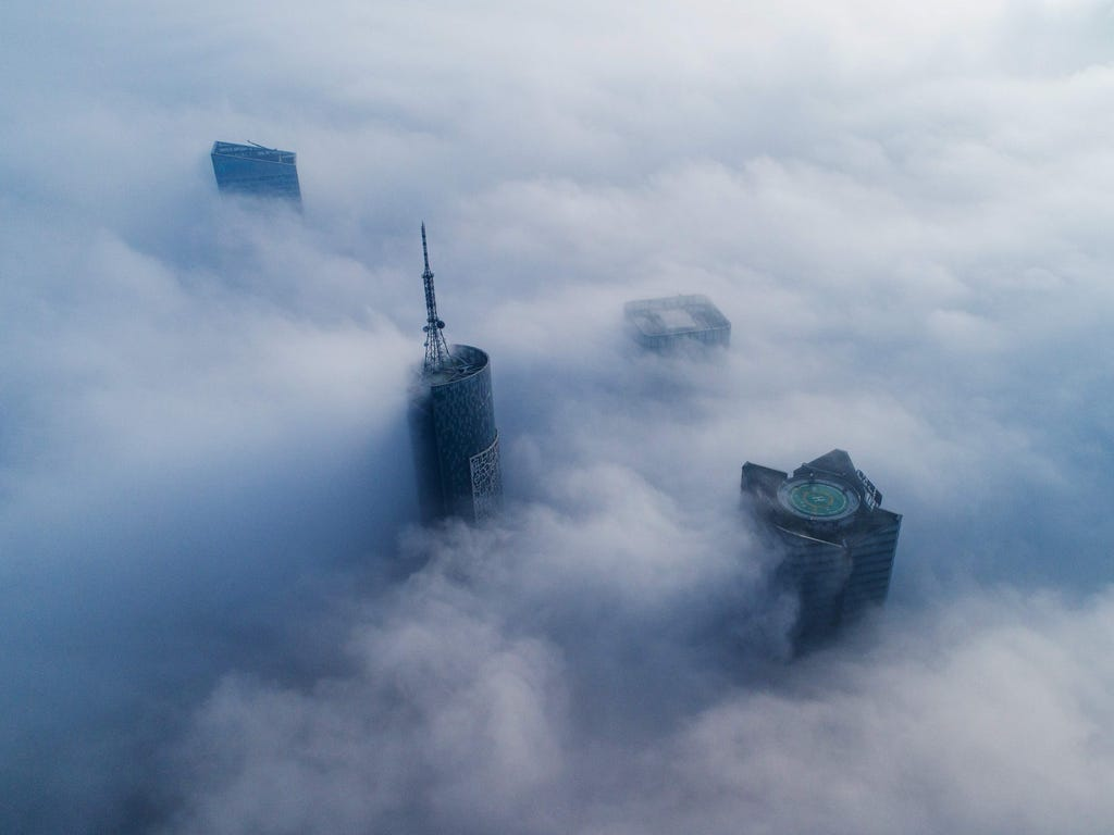 Skyscrapers are shrouded in fog in Hefei, in eastern China's Anhui province.