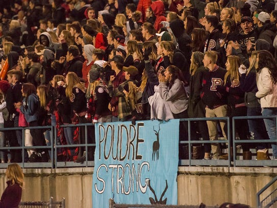 "A sign reading ""Poudre Strong"" in honor of Poudre junior"