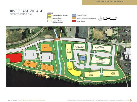 Above is the site development plan for Wausau's east riverfront, proposed by Frantz Community Investors in late 2015.