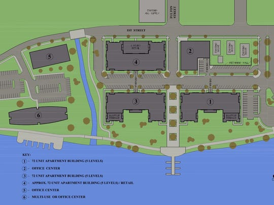 A site plan of River East Flats from Mosinee-based S.C. Swiderksi's .
