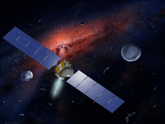 Artist's concept of Dawn with Vesta and Ceres in the