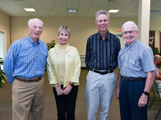 Tom Lytle, left, Ellyn Stevenson, Larry Mueller and John Doody at the Martin County Community Foundation Speaker Series. Stevenson and Doody are foundation board members.