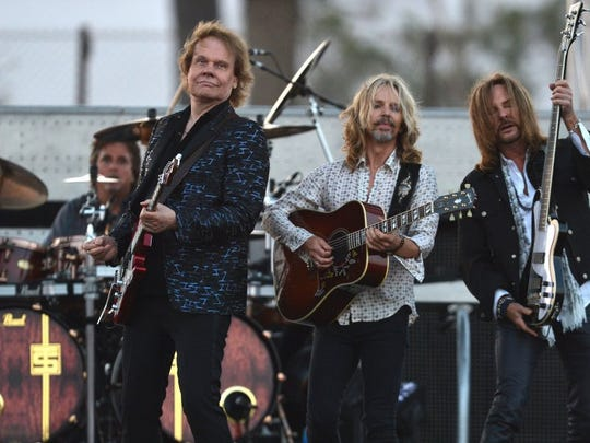 Styx band members Todd Sucherman (from left), James Young, Tommy Shaw and Ricky Phillips perform at the Ventura County Fair in this file photo.