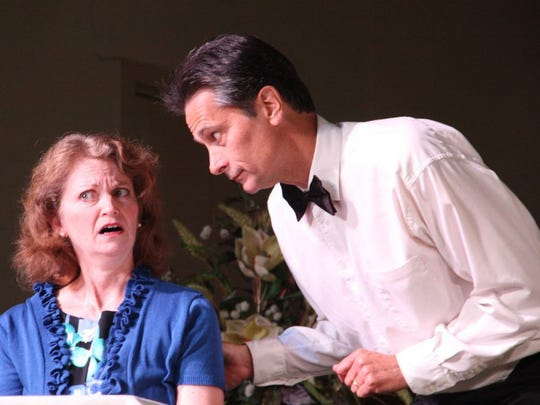 """Jeni Lamm with fellow actor and husband Terry Weber in a sketch called """" Traveler in the Dark."""""""