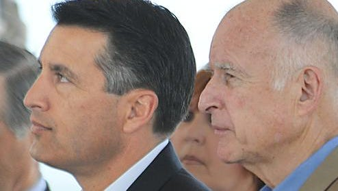 Nevada Gov. Brian Sandoval and California Gov. Jerry Brown at the Lake Tahoe Summit Aug. 13, 2012.