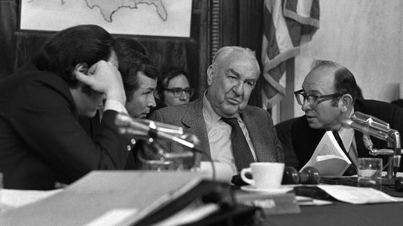 Sen. Sam Ervin, center, was a North Carolina Democrat
