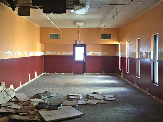 The inside of the former Shranks Cafeteria building at 85 W. Michigan Ave. has fallen into a state of disrepair. The building was purchased in December by David Sciacca and Alexa Smolinski.