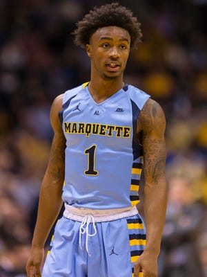 Marquette Golden Eagles guard Duane Wilson (1) during the game against the Xavier Musketeers at BMO Harris Bradley Center.
