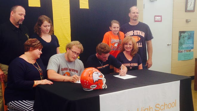 Tuscola seniors Jordan Davis, left, and Zach Webster have signed to play college football for Carson-Newman (Tenn.).
