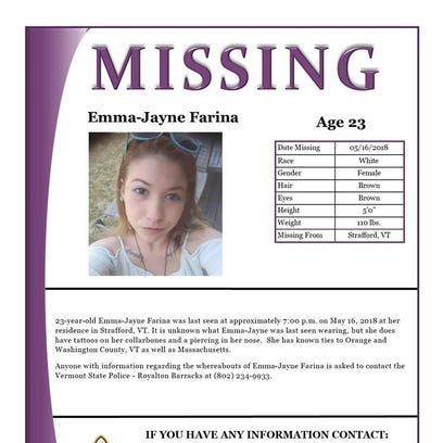 Missing poster from the Vermont State Police