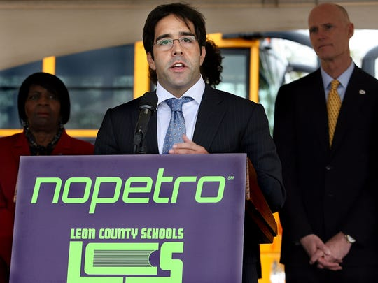 Local officials, including Gov. Rick Scott, Supt. Jackie Pons and Nopetro CEO Jorge Herrera, seen here, were on hand for the official groundbreaking for Nopetro's natural-gas fueling center. The building is in a partnership with Leon County Schools at a site on Capital Circle Northwest between Pensacola and Tennessee Streets. The school district has begun switching its buses to natural gas and has about 14 of them on the road. This center is a refueling point for such fleet vehicles, as well as motorists' private vehicles.