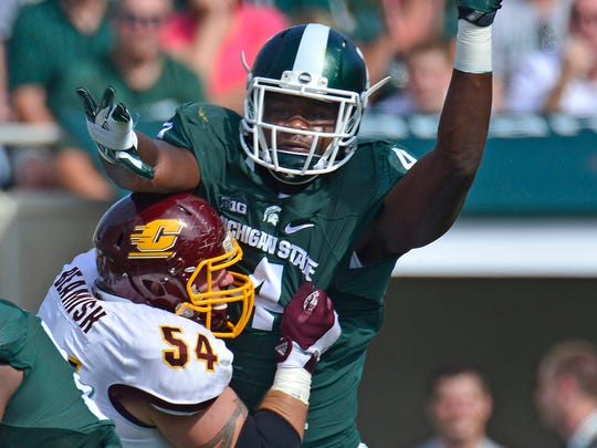 Malik McDowell (4) had 90 tackles, including 24.5 for losses and 7.5 sacks, in 36 games for Michigan State.