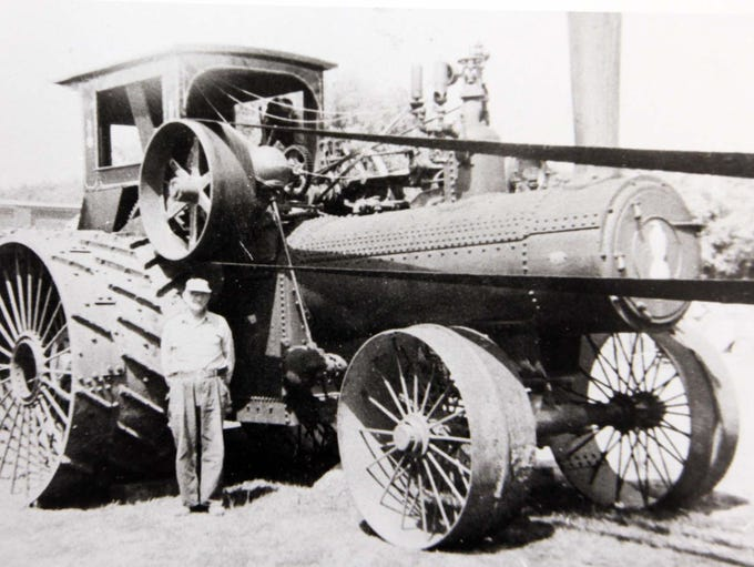 Squire Parker with Case steam tractor near Fertile,