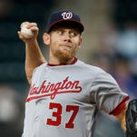 Washington Nationals starting pitcher Stephen Strasburg delivers in a baseball game against the New York Mets in New York on Thursday.