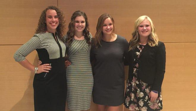 : L-R: College of the Ozarks seniors Lauren Kenyon, Caroline McKinney, Paige Arnett and junior Naomi Parker compete in the Phi Beta Lambda 2016 National Leadership Conference. McKinney, Arnett, and Parker placed within the top five in the nation in their events.