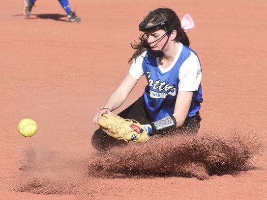 Cotter's Paige Clawson keeps a ground ball from getting