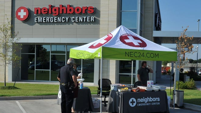 Neighbors Emergency Center, seen here during an event to serve breakfast to local first responders last year, is currently facing two lawsuits - one for malpractice and the other for breach of lease. NEC closed suddenly overnight in October of 2017.