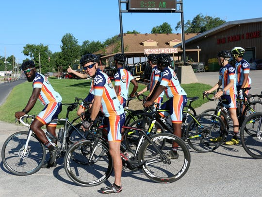 Members of The Youth Off Road Riders prepare to join the RAGBRAI route.