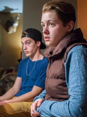 Auburn Sendra, her brother Dresden, left, and mother