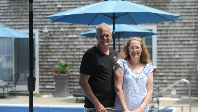 Shawn Gilmore, left, and Sharon Foster, owners of the Platinum Pebble Boutique Inn in West Harwich, say they strive to create a relaxing, peaceful environment for visitors.