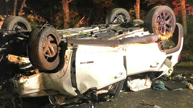 A Jeep Renegade wound up on its roof after a single-car crash overnight in Upton.